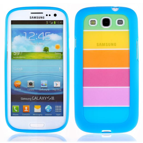 Rainbow Transparent (Blå) Samsung Galaxy S3 Silikonskal