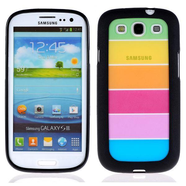 Rainbow Transparent (Svart) Samsung Galaxy S3 Silikonskal