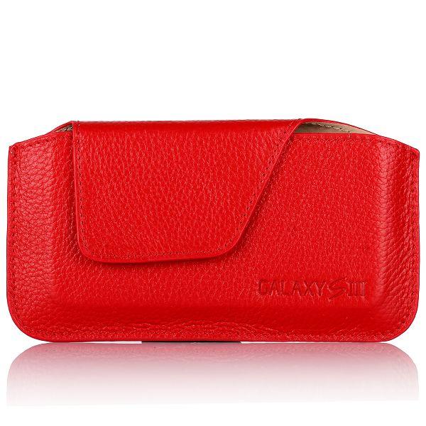 Klassisk Genuin Läderpåse för Samsung Galaxy S3 (Röd)