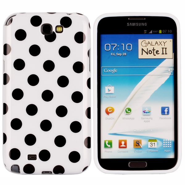 Dots (Vit) Samsung Galaxy Note 2 Skal