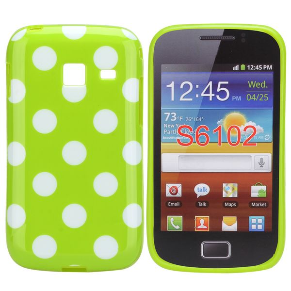 Dots (Grön/Vit) Samsung Galaxy Y Duos Skal