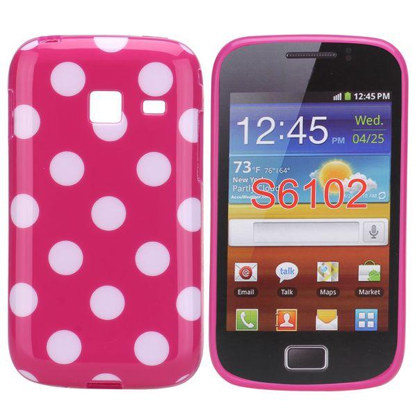 Dots (Rosa/Vit) Samsung Galaxy Y Duos Skal