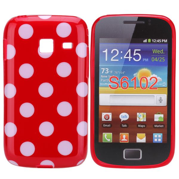 Dots (Red/Vit) Samsung Galaxy Y Duos Skal