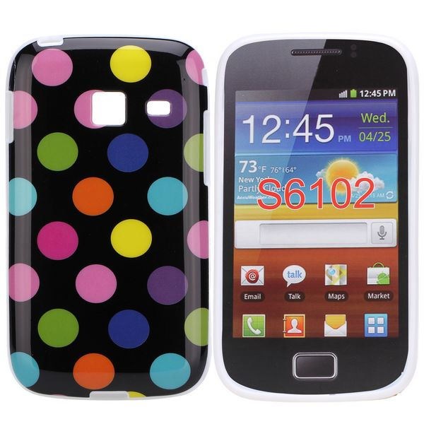 Dots (Svart Colorful) Samsung Galaxy Y Duos Skal