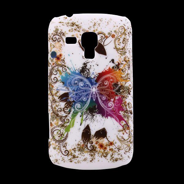 Valentine (Färgstarka Fjäril Vit) Samsung Galaxy Trend Skal