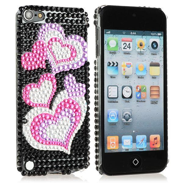 BlingCase (5 Rosa Hjärtan) iPod Touch 5 Blingskal