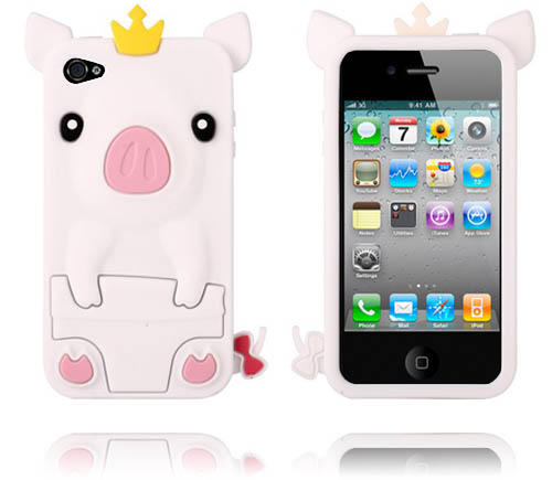 Piggy (Vit) iPhone 4/4S Silikonskal