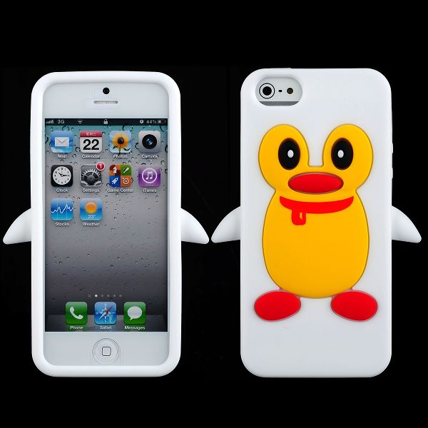 Happy Penguin (Vit) iPhone 5 & 5S Silikonskal