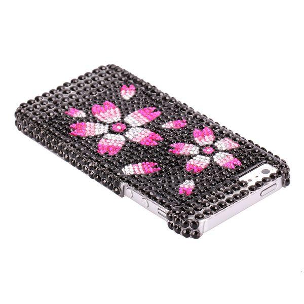 Marilyn (Svart & Rosa Blommor) iPhone 5 Bling Skal