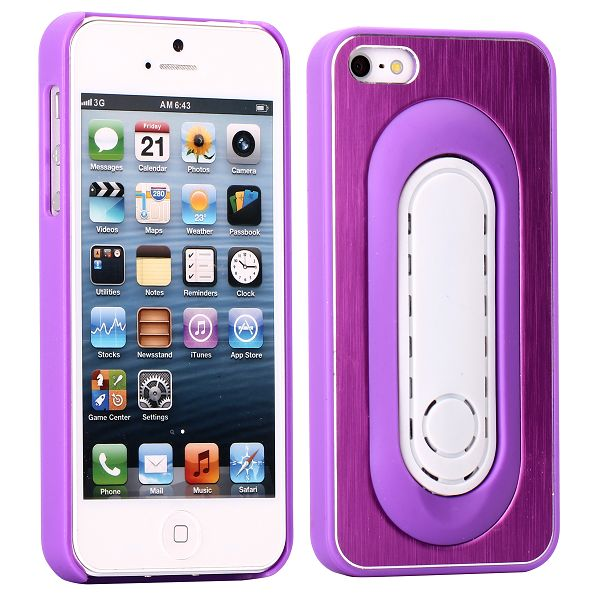 Brushed Alu – KickStand (Lila) iPhone 5 Skal