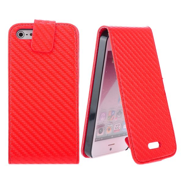Carbonite (Röd) Vertikalt iPhone 5 Läderfodral/5S