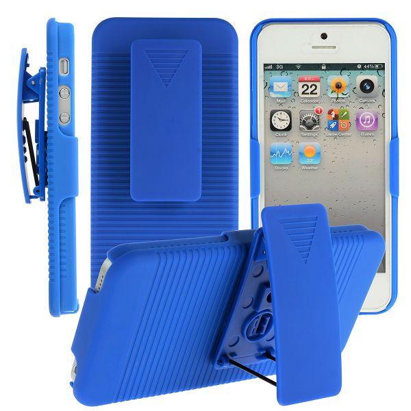 Belt Clip Skal (Blå) iPhone 5 Skal