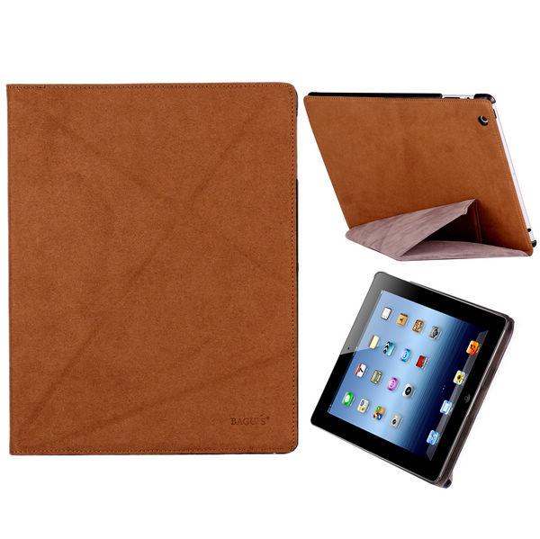 Alternate Fold Ver. II Läderfodral för iPad 3/iPad 4 (Ljusbrun)