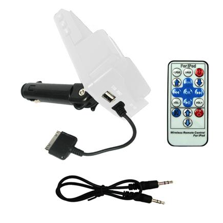 7-i-1 – FM-sändare för iPhone 3G / 3GS / 4 (Vit) Med fjärrkontroll