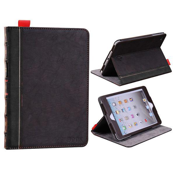 Retro iPad Mini Genuint Läderfodral (Svart)