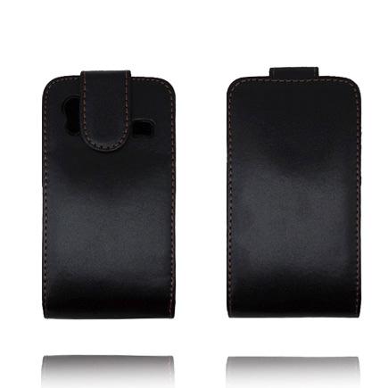 Klassisk Camera Lock (Svart – Bruna Stygn) Samsung Galaxy Ace Flipskal