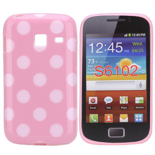 Dots (Ljusrosa/Vit) Samsung Galaxy Y Duos Skal