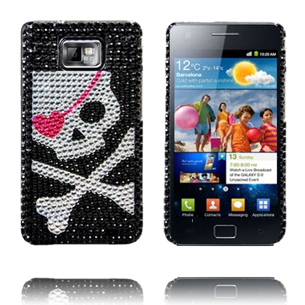 Paris Star (Silver Dödskalle) Samsung Galaxy S2 Skal med Bling-Bling