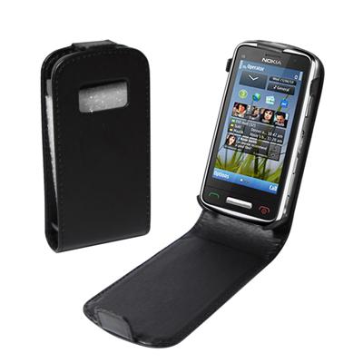 Klassiskt Läderfodral för Nokia C6-01 (Svart)