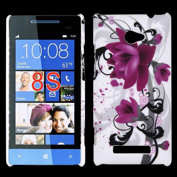 Valentine (Lila Blommor) HTC Windows SmartPhone 8S Skal