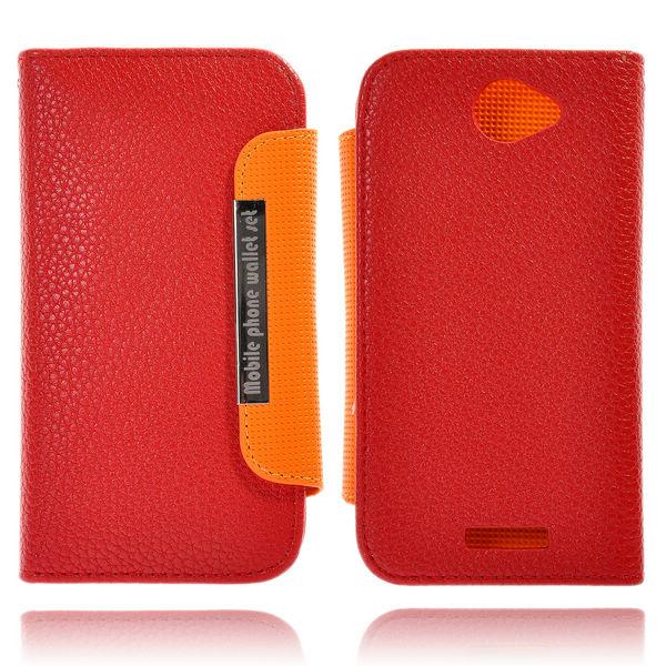 Amecs HTC One X Läderfodral med Kreditkortsficka (Röd)