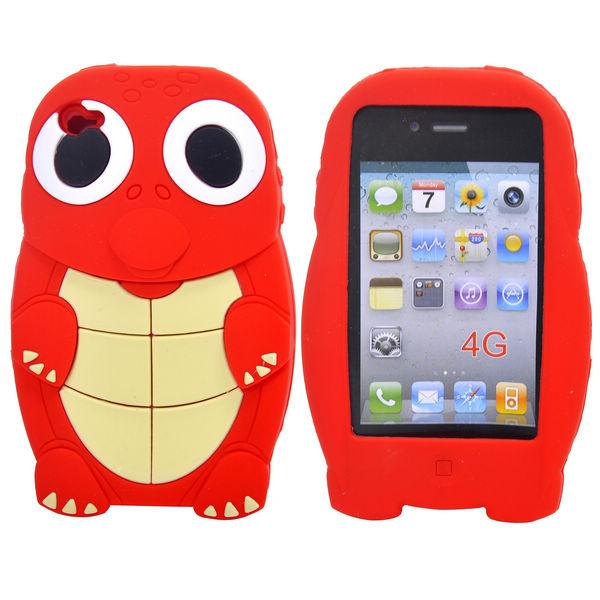 Turtle (Röd) iPhone 4S Silikonskal