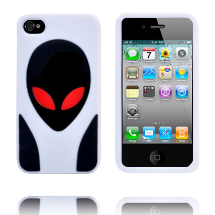Alien Invasion (Vit) iPhone 4S Silikonskal