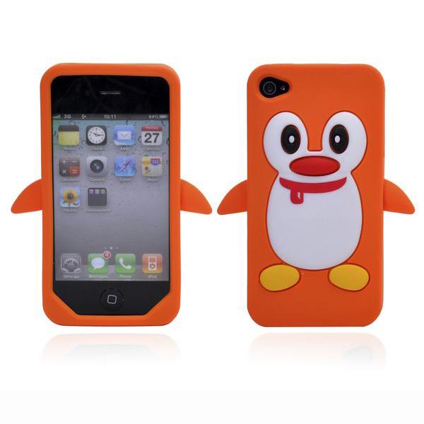 Happy Penguin (Orange) iPhone 4S Silikonskal