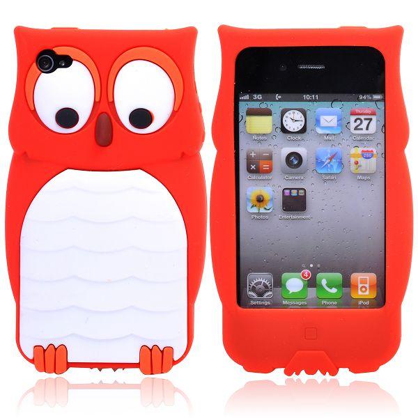 Happy Owl (Röd) iPhone 4/4S Silikonskal