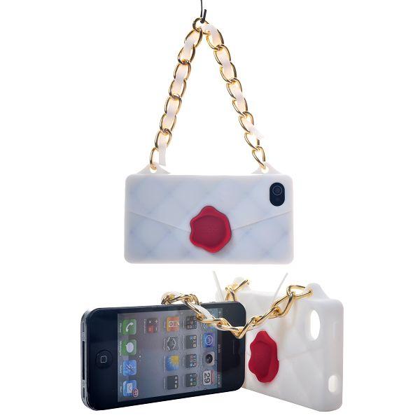Mobilväska med Bling-Kedja (Vit) iPhone 4S Silikonskal