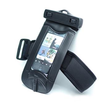 Vattentätt Armbandsskal för SmartPhone med Vattentäta Hörlurar (Svart)