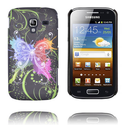 Valentine (Centrerad Regnbågsfjäril – Svart) Samsung Galaxy Ace 2 Skal