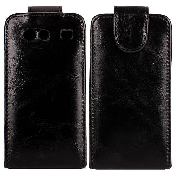 Klassisk Samsung Galaxy S Advance Läderfodral (Svart)
