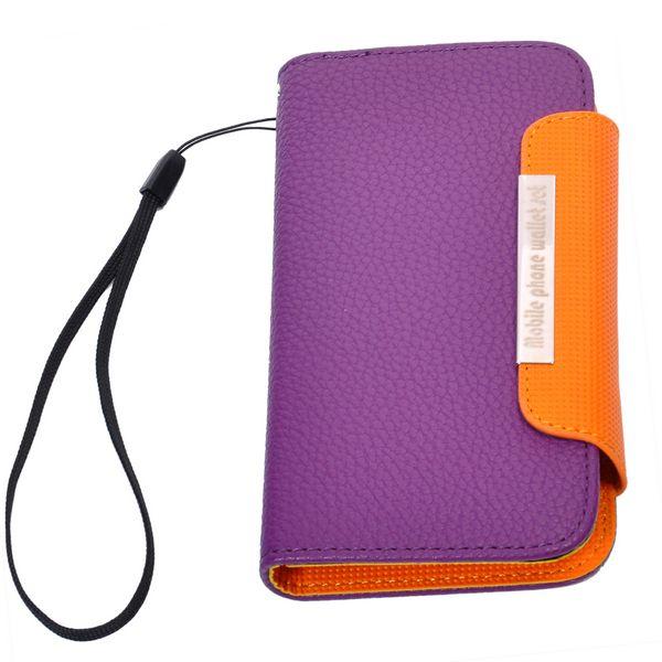 Klassisk Samsung Galaxy Nexus Läderfodral – Sidoflip (Lila – Orange)