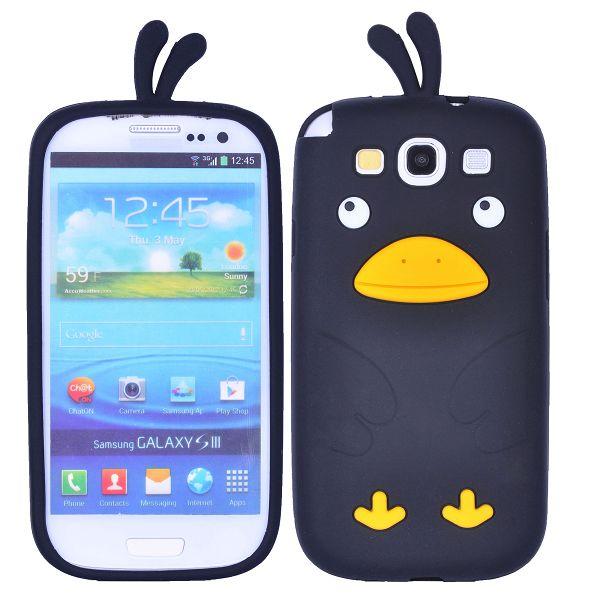 Happy Bird (Svart) Samsung Galaxy S3 Skal