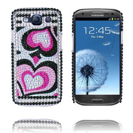 Paris (Två Rosa Hjärtan) Samsung Galaxy S3 Bling Skal