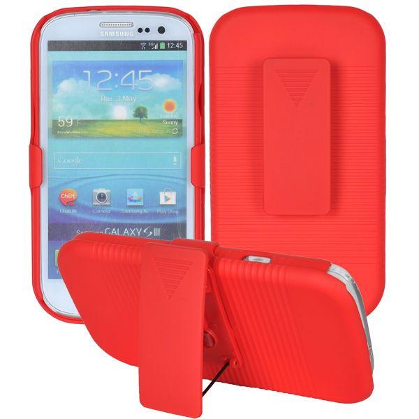 SlideOn Front – Bältesklämma (Röd) Samsung Galaxy S3 Skal