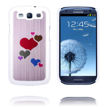 Rainbow Hearts Alu (Ljusrosa) Samsung Galaxy S3 Skal
