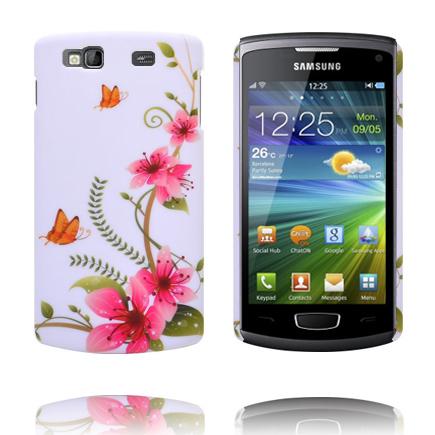 Valentine (5 Rosa Blommor – Orange Fjäril) Samsung Wave 3 Skal