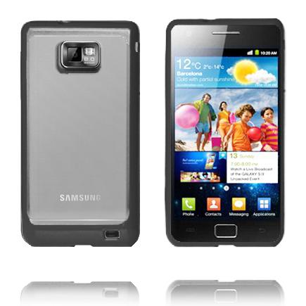 Transparent Back (Svart) Samsung Galaxy S2 Silikonskal