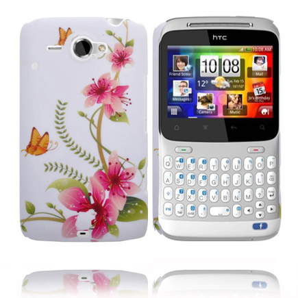 Valentine (Rosa Blommor – Orange Fjäril) HTC ChaCha Skal