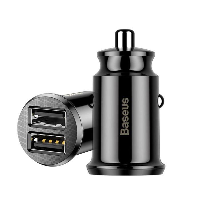 BASEUS Universal mini smart car charger adapter Black