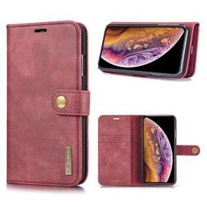 DG.Ming iPhone Xs Max 2-in-1 Plånbok Fodral - Röd