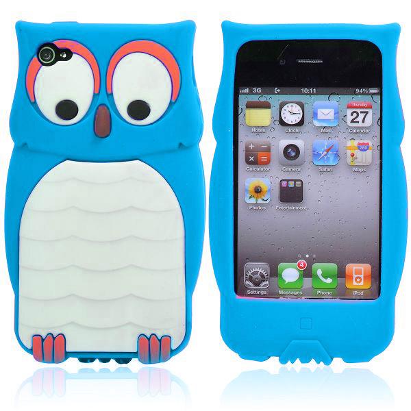 Happy Owl (Ljusblå) iPhone 4/4S Silikonskal