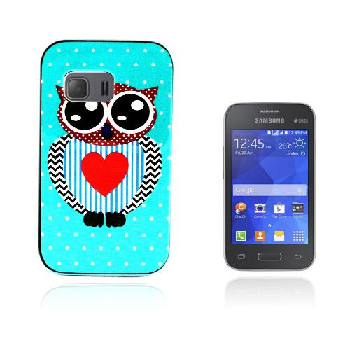 Wester Edge Samsung Galaxy Young 2 Skal – Blå Prickar Big Hjärta Uggla