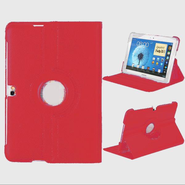 Rotational Samsung Galaxy Note 10.1 Läderfodral Stativ (Röd)