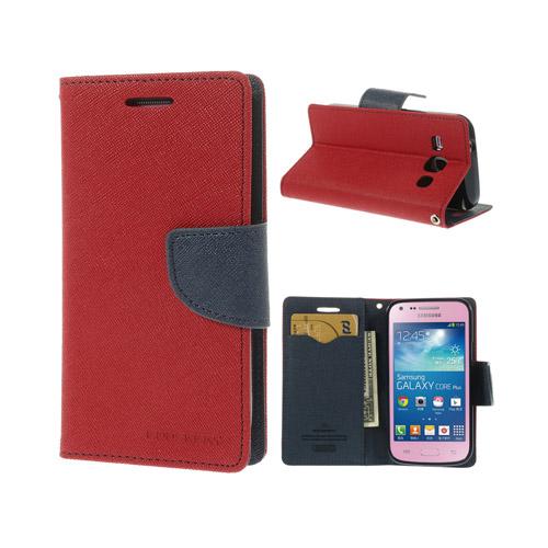 Mercury (Röd / Mörkblå) Samsung Galaxy Core Plus Läder Flip-Fodral