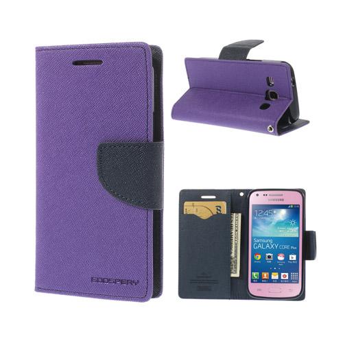 Mercury (Lila / Mörkblå) Samsung Galaxy Core Plus Läder Flip-Fodral