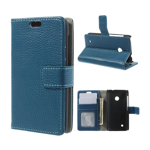 Cowhide (Blå) Nokia Lumia 530 Flip-Fodral (Äkta Läder)
