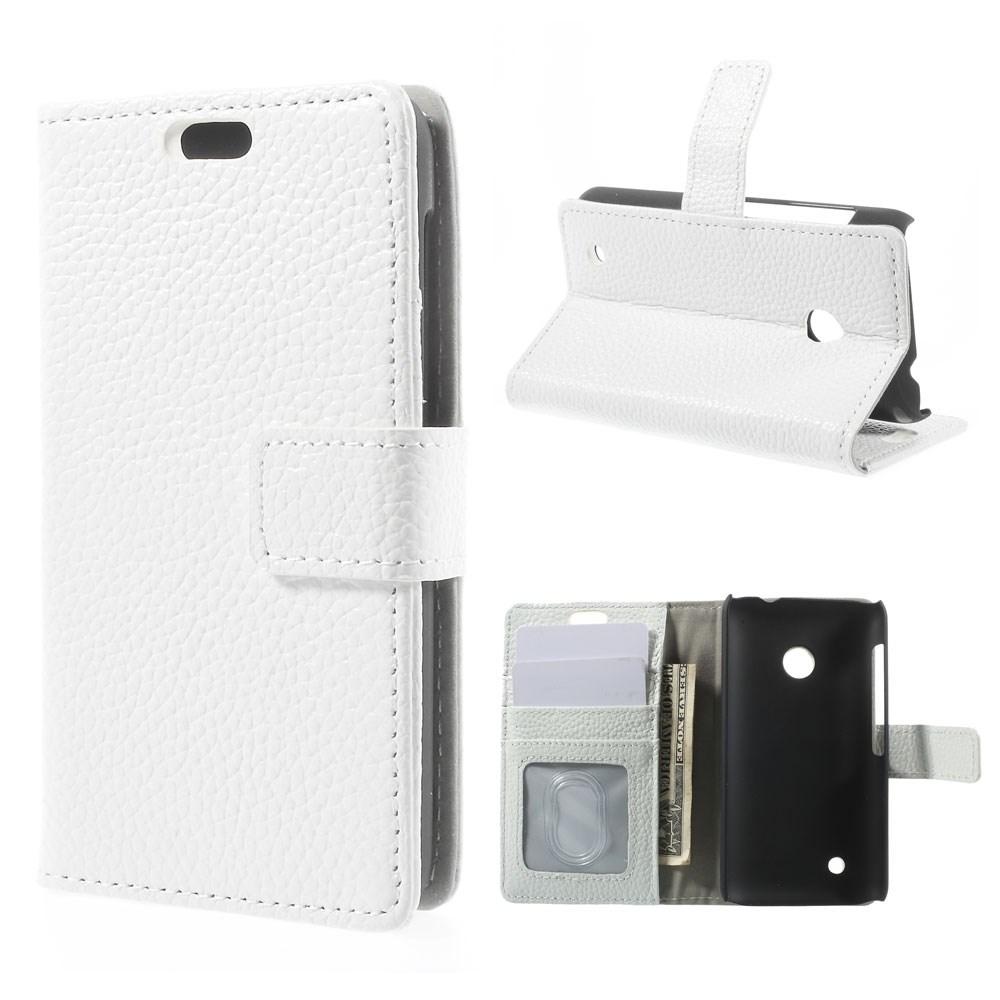 Cowhide (Vit) Nokia Lumia 530 Flip-Fodral (Äkta Läder)